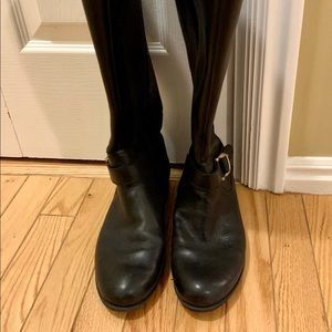 Black knee height boots